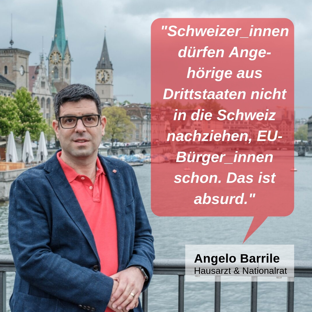 """""""Schweizer_innen dürfen Angehörige aus Drittstaaten nicht in die Schweiz nachziehen, EU-Bürger_innen schon. Das ist absurd."""""""