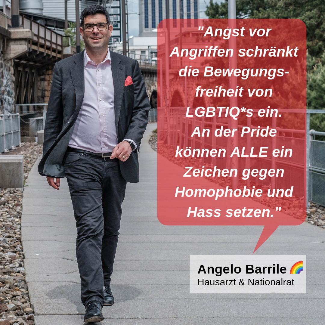 """""""Angst vor Angriffen schränkt die Bewegungsfreiheit von LGBTIQ*s ein. An der Pride können ALLE ein Zeichen gegen Homophobie und Hass setzen."""""""