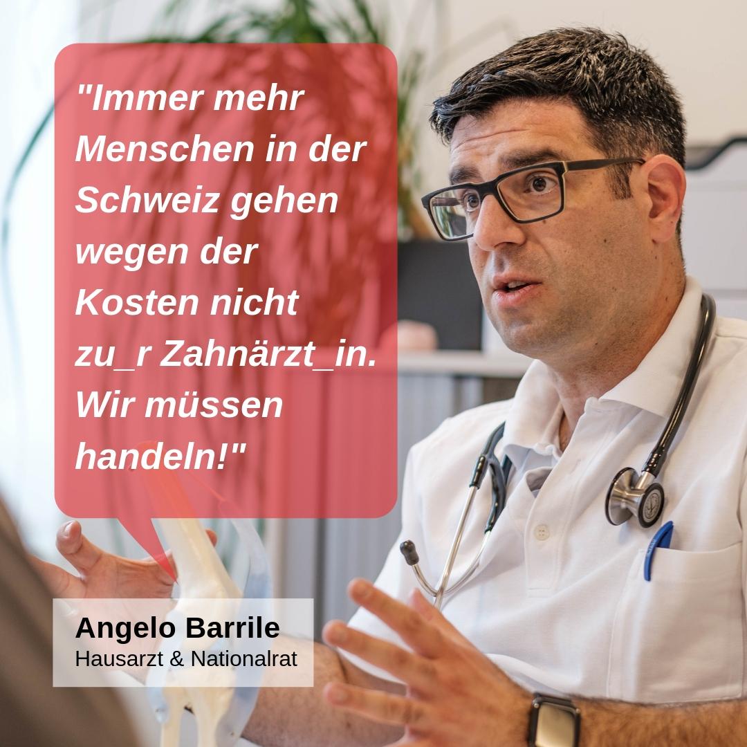 """""""Immer mehr Menschen in der Schweiz gehen wegen der Kosten nicht zu_r Zahnärzt_in. Wir müssen handeln!"""""""