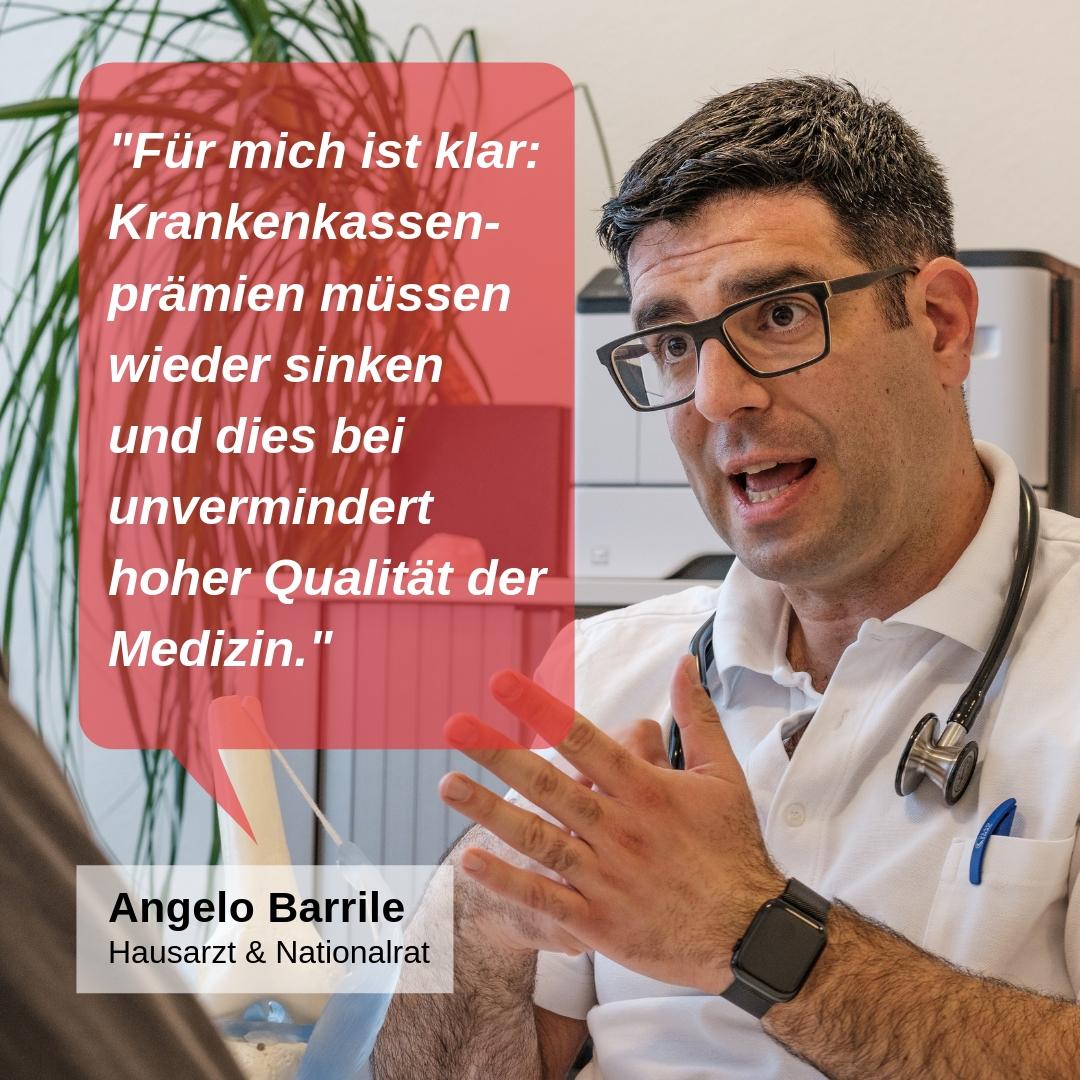 """""""Für mich ist klar: Die Krankenkassenprämien müssen wieder sinken und dies bei unvermindert hoher Qualität der Medizin."""""""