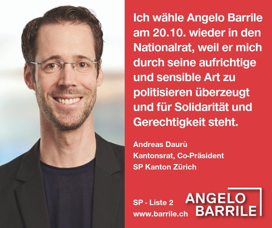Andreas Daurù, Kantonsrat und Co-Präsident SP Kanton Zürich