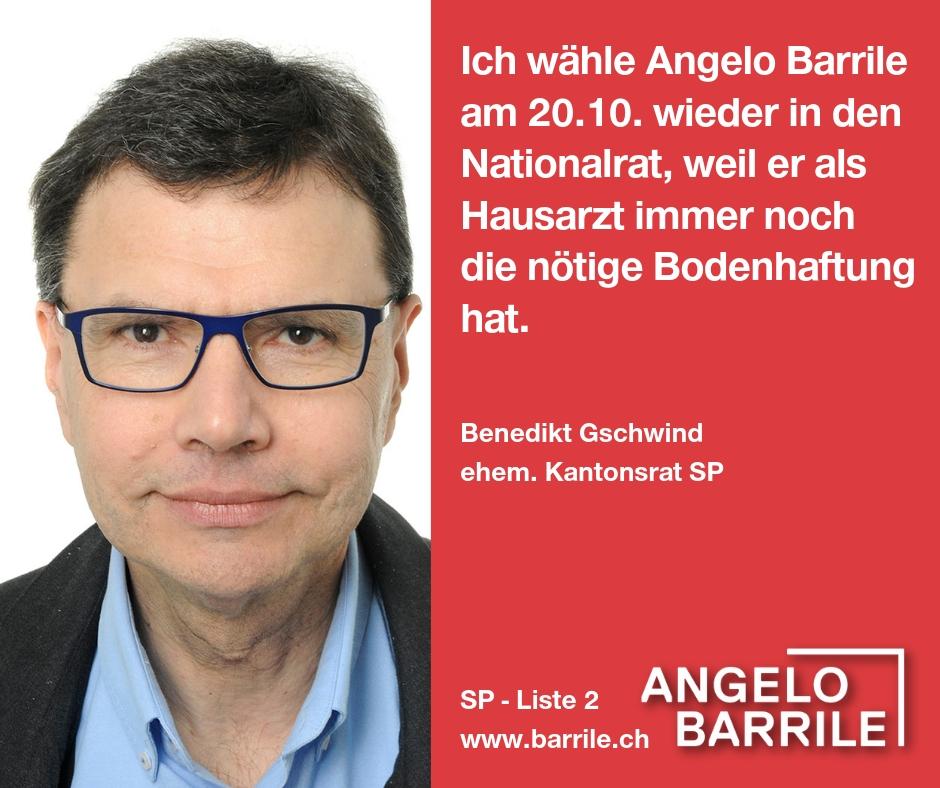 Benedikt Gschwind,  ehem. Kantonsrat SP