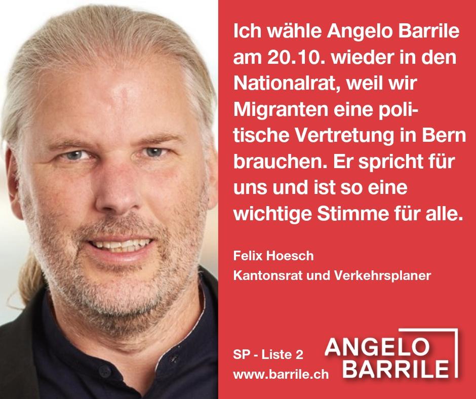 Felix Hoesch, Kantonsrat und Verkehrsplaner
