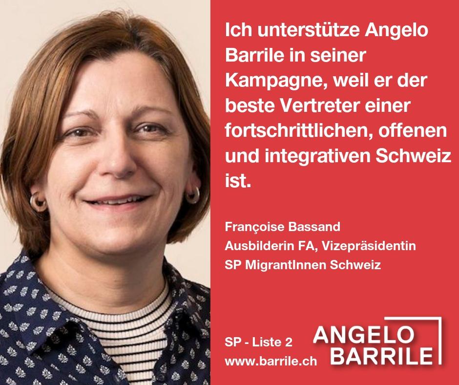 Françoise Bassand,  Ausbilderin FA, Vizepräsidentin   SP MigrantInnen Schweiz