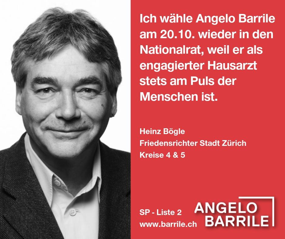 Heinz Bögle, Friedensrichter Stadt Zürich  Kreise 4 & 5