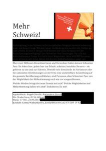 Mehr Schweiz! - Infoveranstaltung zum neuen Bürgerrechtsgesetz @ Adliswil | Zürich | Schweiz